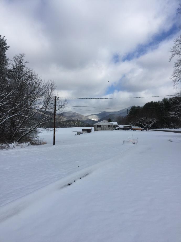 Snowy morning Reems Valley Weaverville North Carolina